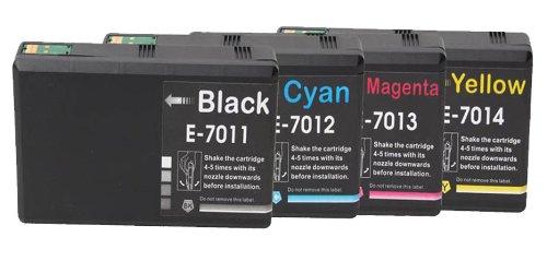 Preisvergleich Produktbild Merotoner® - 4 Druckerpatronen Kompatibel zu Epson T-7011 T-7012 T-7013 T-7014 Epson WorkForce PRO WP4545 WP4595 / WP 4015 WP 4025