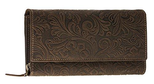 Burkley Leder Geldbörse für Damen - XXL / Lang - Portemonnaie mit 16 Kartenfächer - robuste Reißverschlüsse - aufwendige Blumen Prägung - Prägung Leder Geldbörse