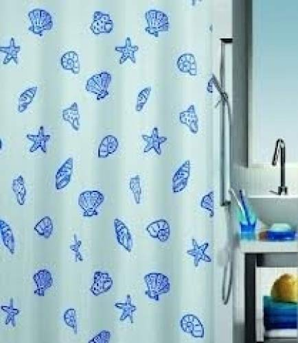 duschvorhang 220 x 200 Spirella Concha Marine Textil-Duschvorhang Polyester 240x200 cm weiß/blau