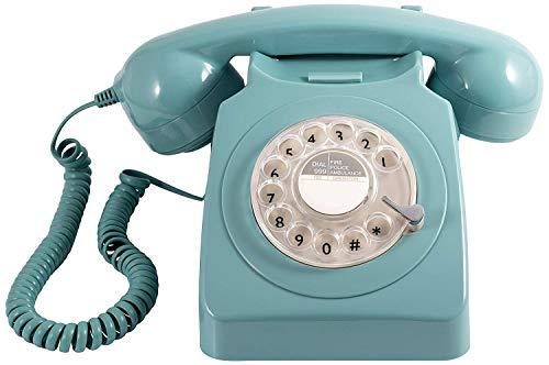 Oferta de GPO 746 Teléfono fijo de disco con estilo retro de los años 70 - Cable en espiral, Timbre auténtico - Naranja