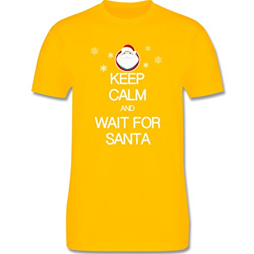 Keep calm - Keep calm and wait for Santa - Herren Premium T-Shirt Gelb