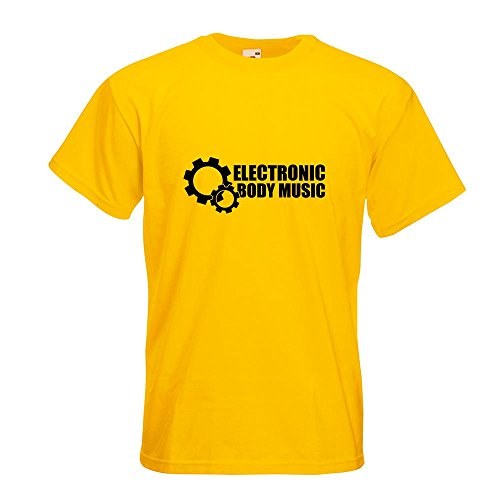 KIWISTAR - Elektronic Body Music - EBM Zahnrad T-Shirt in 15 verschiedenen Farben - Herren Funshirt bedruckt Design Sprüche Spruch Motive Oberteil Baumwolle Print Größe S M L XL XXL Gelb