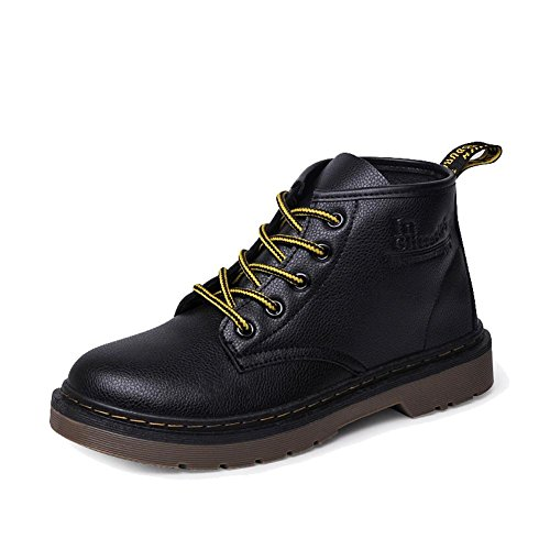 retro women martin short boots leather flat heel winter warm casual shoelace ankle shoes . black . 36