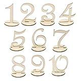Veewon 10 x Rustikale Holztisch Zahlen mit Halter Basis für Hochzeit Home Geburtstag Party Dekoration, 1 bis 10
