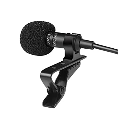Lavalier Lapel Microphone Clip-on Omnidirectional Condenser Mic for Apple iPhone, iPad, iPod Touch,Interview,Youtube,Karaoke,Video Recording,Noise Cancelling Mic