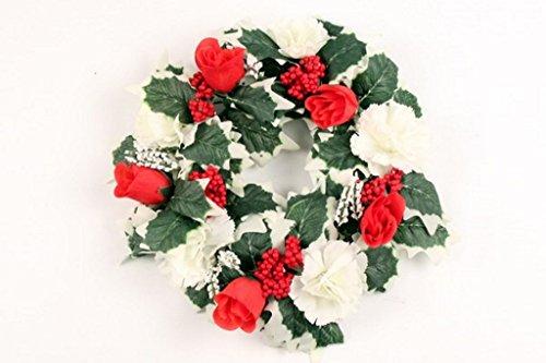 Garthwaite Nurseries® Approx 11`` Christmas Wreath Flower Red Roses Cream Carnations Silk Holly Grave