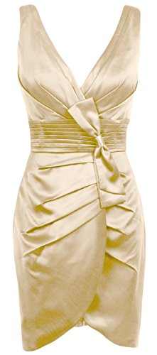 MACloth Women V Neck Satin Short Bridesmaid Dress Formal Evening Party Gown Champagner