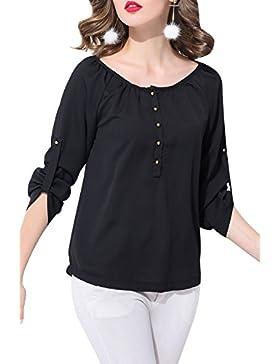 SUNNOW Top de la blusa de la camiseta de algodón de manga larga de algodón de manga larga de las nuevas mujeres...