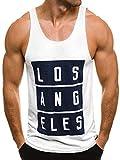 OZONEE Herren Tanktop Tank Top Tankshirt T-Shirt mit Print Unterhemden Ärmellos Weste Muskelshirt Fitness 724 WEIß M