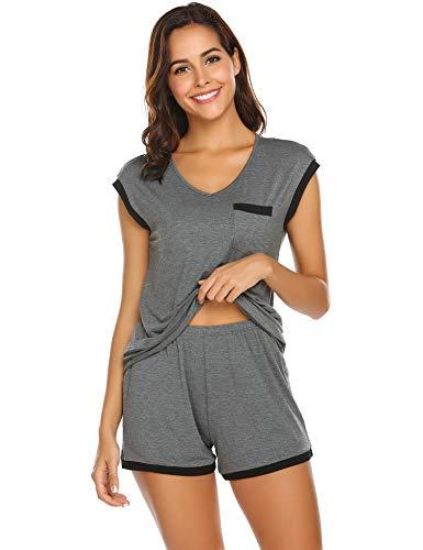Schlafanzug Damen Kurz Pyjama Shorty Set Kurzarm Nachtwäsche Sommer Zweiteiliger Hausanzug Mit Sommerlicher Shorts & Shirt und Taschen S-XXL (Damen-pyjama)