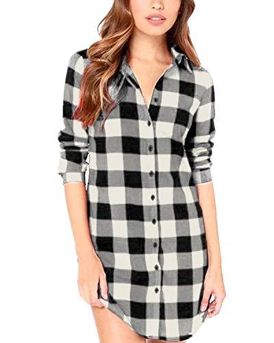 ZANZEA Damen Kariert Langarm Oversize Hemd Button Longshirt Cardigan Top Schwarz-Weiß A EU 36 / US 4
