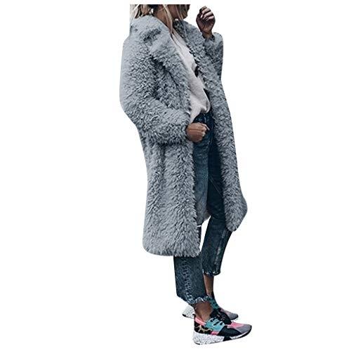 Donna Le Signore Caldo Artificiale Lana Cappotto Giacca Risvolto Inverno Cappotti Giacche Elegante Soprabito Risvolto Cardigan Artificiale Tinta Unita Casuale Parka Giacca a Vento