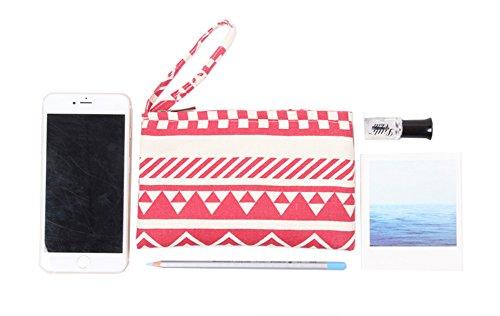 Laat portamonete portatile in piccola tasca borsa in cotone con chiusura lampo 8colori Colore 2 Color 2 11 * 20 Color 1