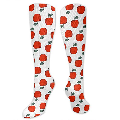 Not afraid Christmas Apples Red Sweet Hiking Trekking Socks Casual Knee High Socks for Running,Medical,Athletic,Edema,Travel,Pregnancy,Nursing 50CM