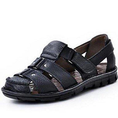 Uomini sandali estivi in pelle Casual tacco piatto nero piatto marrone Black