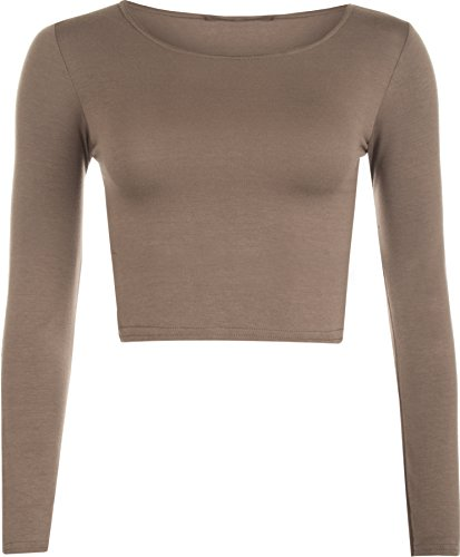 womens-crop-long-sleeve-t-shirt-ladies-short-plain-round-neck-top-mocha-8-10