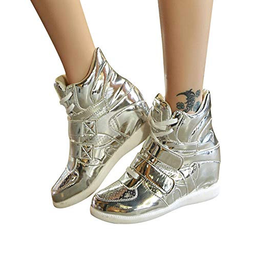 MYMYG Damen Stiefel Lackleder Keile Schuhe Plateauschuhe High-Top Lace Up Sneakers Stylische Schnalle Walkingschuhe Freizeitschuhe Lederschuhe Wildleder Winter Herbst warme Stiefel - Mädchen Faux Wildleder Stiefel