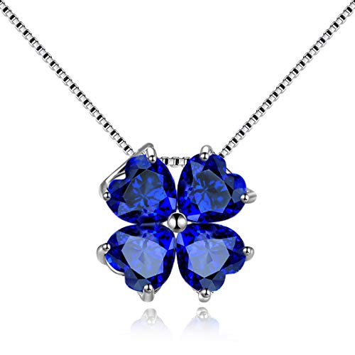 JiangXin 925 Sterling Silber Anhänger 40+5cm Kette Halskette Damen Herz vierblättriges kleeblatt Glücksbringer Lucky clover Synthetischen Blau Saphir