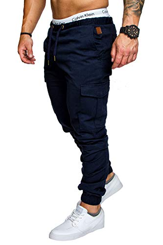 Amaci&Sons Jogger Cargo Herren Chino Jeans Hose 7001 Navyblau W32