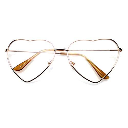 Emblem eyewear premium womens carina cornice metallo cuore forma occhiali da sole (oro chiaro)