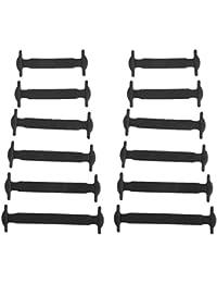 Lyuboov zapatos de unión elásticas de silicona sin cordones de los zapatos para niños (conjunto de 12pcs) (Black)
