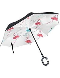 Mnsruu Paraguas invertido de Doble Capa con patrón de Flamenco Rosa, Paraguas Plegable con protección