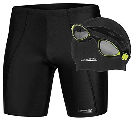 Aqua Speed - SET - Herren Schwimmhose LONG + Badekappe MEGA + Schwimmbrille FLEX | Jammer | UV-Schutz | Chlorresistent | Formbeständig | Wirkungsvoll gegen Muskelermüdung, Größe:XL, Farbe:01. LONG SET - Black (Sonnencreme Für Clip)