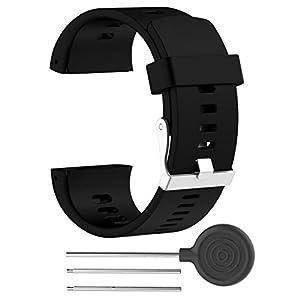 cooljun repuesto moda caucho de silicona reloj banda correa de muñeca para Polar V800Reloj BK, negro