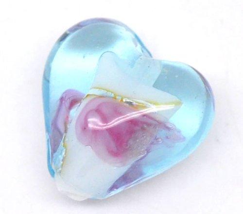 Lot de 10 Perles Lampwork Verre Coeur Blue&Rose 13x12mm