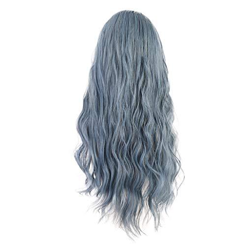 Barlingrock Elegante graue Blaue Lange Welle Party Mode Perücke hochwertige sexy Mode grau Lange lockige Haare Perücke Tiger Tür Frisur synthetische Perücke (Graue Kostüm Perücke)