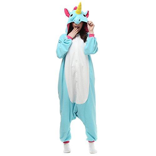 Binhee Pyjamas Tier Kostüm Schlafanzug Jumpsuit Erwachsene Unisex Cosplay Halloween Karneval Blau Pegasus Größe M (Höhe:158-168cm)