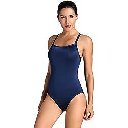 SYROKAN - Bañador Deportivo Traje de Baño Atlético de Una Pieza Para Mujer Azul marino 30 inch