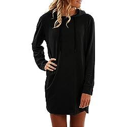 SUNNYME Femme Sweat-Shirts Robe à Capuche Manches Longues Casual Mini Tunique Printemps Pull Noir M