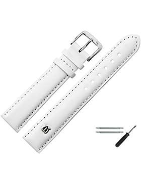 MARBURGER Uhrenarmband 18mm Leder Weiss - Rindsleder - Inkl. Zubehör - Ersatzarmband, Schließe Silber - 1001820000120