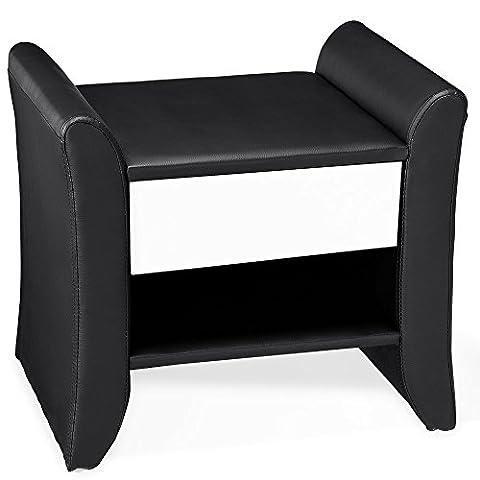 [Corium] coussins - table de nuit (noir - blanc) (47cm x 37cm x 44cm) table de chevet avec tiroir et surface de dépose
