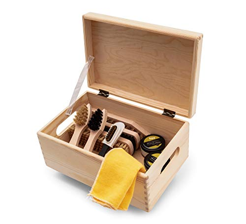 Shoe Care Set Kit Wooden Box Verona Style Valet Box, Kaps Water-Based Shoe Cream with Langlauf Brushes, Made in Europe by Pros, All-In Shoe Boot Leather Cleaning Shining, 10 Pieces