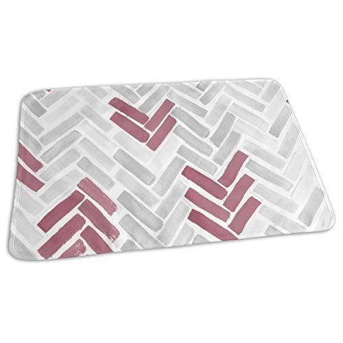 Baby Reusable Diaper Changing Pad - Maroon Gray Herringbone_75272 Portable Waterproof Urine Mat ((27.5 x 19.7 Inch), 70 x 50 cm) -