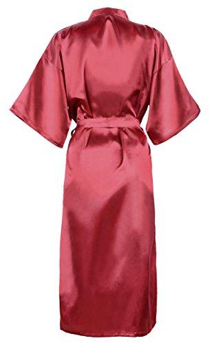 HonourSport-Kimono Japonais Longue Uni Sexy Robe de Chambre-Femme Bordeaux