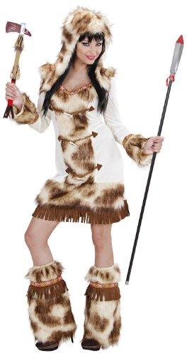 Widmann 02161 - Erwachsenenkostüm Weeko Indianerin, Kleid mit Kapuze und Stulpen