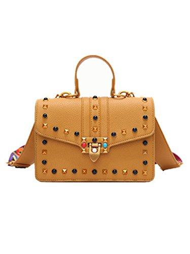 kleine tasche mini tasche tasche mit nieten umhängetasche Damentasche Handtasche+Bunter Schultergur