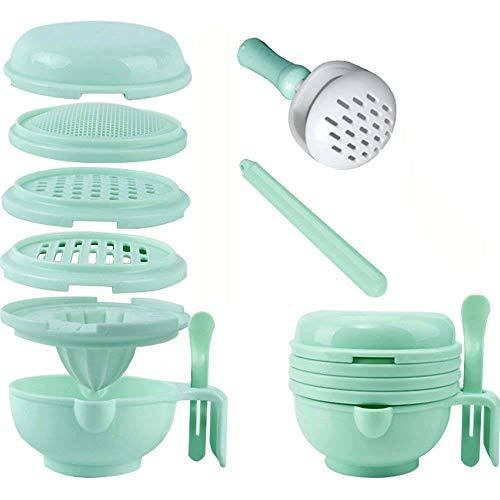 Fefaxi 9 in 1 Baby Food Grinder Bowl Nahrungsergänzungsmittel Set Food Grinder helle Farbe