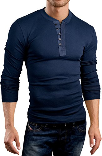 Grin&Bear Slim Fit Kontrast Knopfleisten Shirt, BH127 langarm/navy