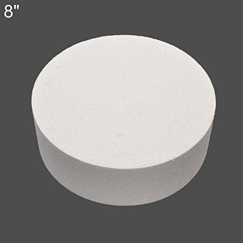 mAjglgE Runde Styropor-Schaum-Kuchen-Dummy Sugarcraft-Blumendekor-Praxis-Modell 4/6/8 Zoll Weiß 8 - Runde 6 Dummy-kuchen