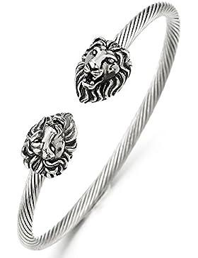 Vintage Löwenkopf Verdrehten Stahlkabel Herren Armband Edelstahl Stahlkabel Armreif Farbe Silber Poliert, Verstellbare