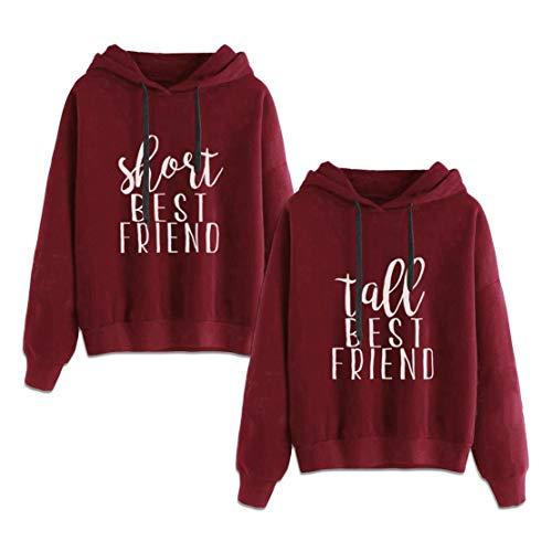 Best Friends Hoodie Beste Freunde Pullover Für 2 Mädchen Sister Sweatshirt BFF Pulli Kapuzenpullover Damen Weihnachten Pullover Rot Geschenk 2 Stücke (Rot,Short-S+Tall-S)