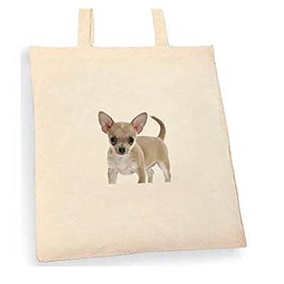 Chihahua Tote bag. Beige cotton bag, Cotton Tote Bag, Can be used as a bag for life shopping bag, handbag, fashion bag, school bag, beach bag, shoulder bag. - handmade-bags