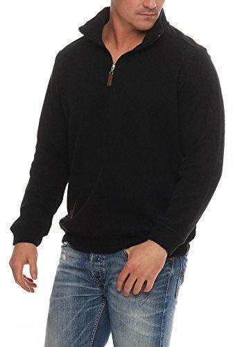 Benter Herren Pullover Sweatshirt Feinstrick Winterpullover mit Stehkragen Logo Patches 16883 (3XL(58), Schwarz) (Sweatshirt Hoody Logo-patch Schwarzes)