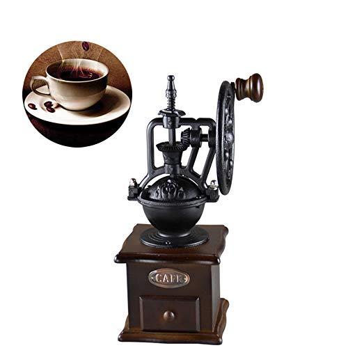 KXW Kaffeemühle, Hölzerne Kaffeebohnen Würzen Klassischen Retrostil, Antike Gusseisenhandmühle, Kaffeebohnenmaschine, Keramischer Schleifkern, Leben
