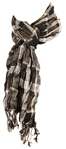 Herren Crinkle Schal schwarz grau weiss 100% Baumwolle