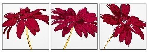 Cuadro pared 3 piezas motivos flores color ciruela